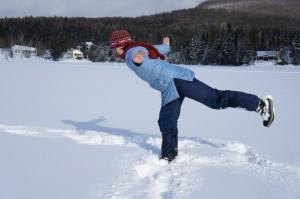 yoga sur le lac gelé